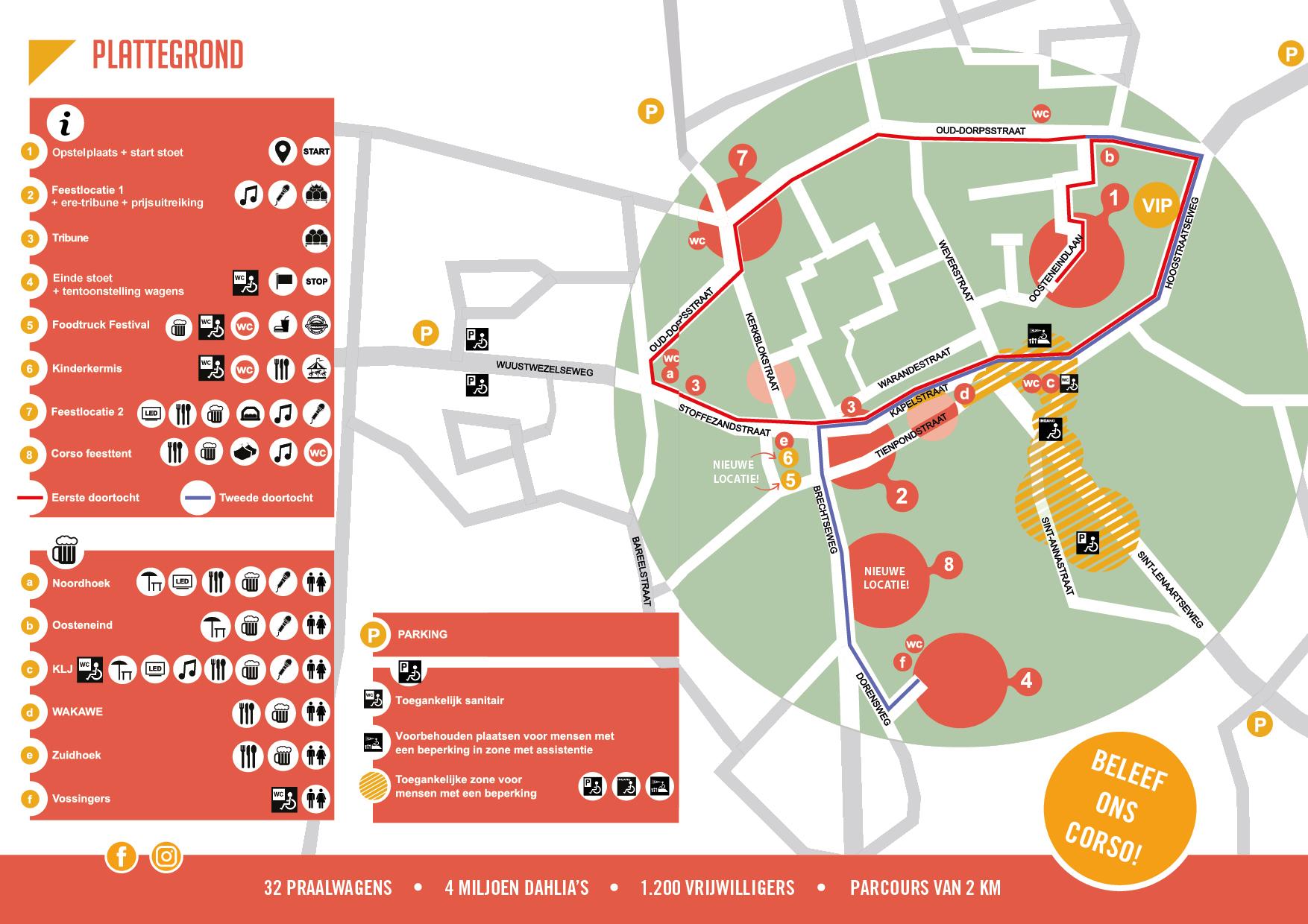 Plattegrond parcours en feestlocaties Bloemencorso Loenhout